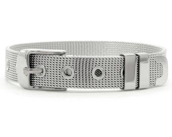 Stainless steel wire mesh belt bracelet adjustable, steel bracelet, mesh belt buckle, belt stainless steel purple gift bag black jewelry box
