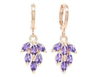 Genuine rose gold plated drop leaf earrings with purple marquise gemstones, sparkly deep purple flower, black gift box purple jewelry bag