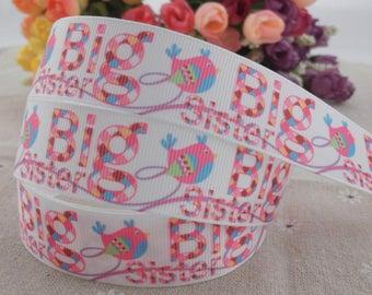 """Big SIster Grosgrain 1"""" Printed Ribbon"""