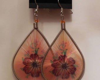Orange Flower Peruvian Thread Earrings
