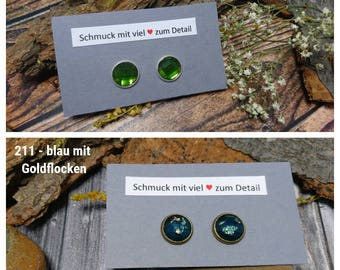 Faceted earrings made of resin in green or blue (160, 211) - resin