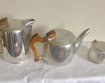 1950's modernist Picquot ware coffee pot, teapot and sugar bowl.