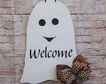 Halloween Ghost Welcome Wood Door Hanger Wreath, Holiday Fall Decorations