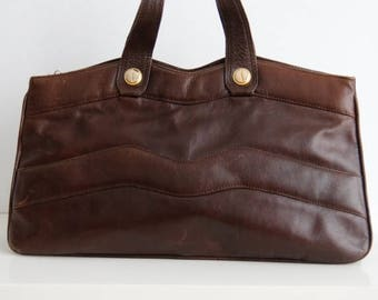 ON SALE Vintage Brown Leather Handbag Dark Brown Leather Bag Leather Mini Handbag Classic 70s Bag Brown Genuine Leather Handbag Boho Handbag
