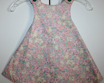 2T, Multi Color Flower Reversible Sundress with Strips.