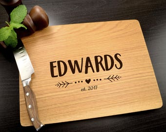 Personalized Cutting Board - Engraved Wooden Cutting Board - Monogram Gift - Custom Wedding Gift - Christmas Gift - Housewarming Gift