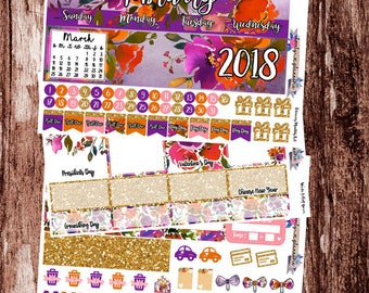 February Monthly Kit, February Stickers, EC Monthly, Planner Stickers, Stickers for Use with ERIN CONDREN Life Planners