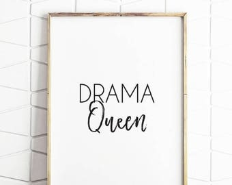 70% OFF SALE girls room decor, drama queen decor, printable drama queen, girls room art, printable girls room decor, girls room download