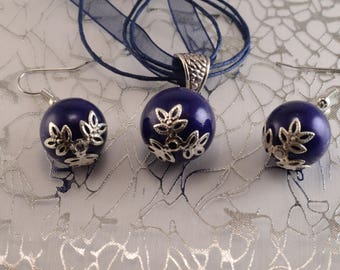 Navy Blue and silver balls necklace and earrings