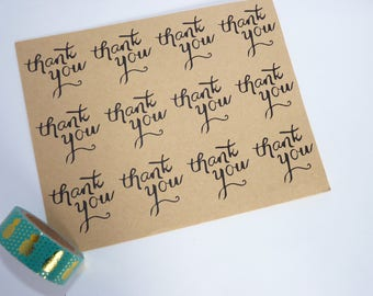 Set of 24 stickers Thank you kraft 3.5 cm gift thank you thank you card - wedding scrapbooking