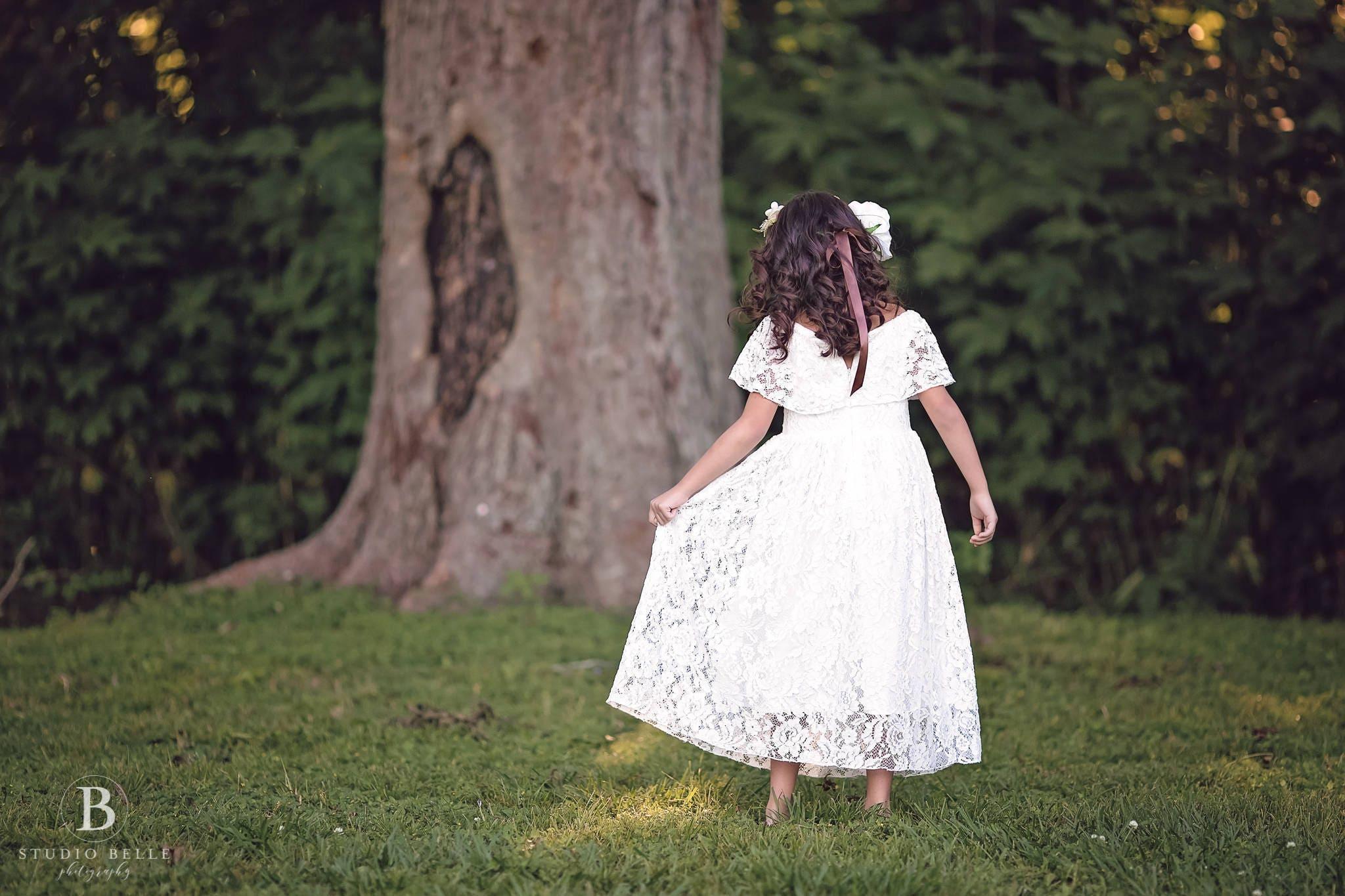 d4f5bd5330d Junior Bridesmaid White Lace Dress