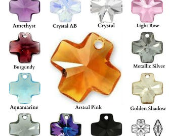 Swarovski Crystal 6866 Cross Pendant 20mm Pick You Colour