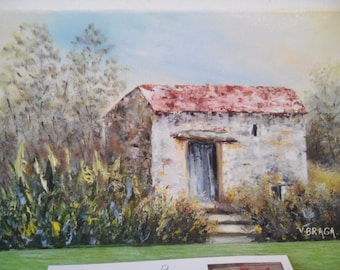 Old building North of the Portugal shepherds: original acrylic painting, oil painting - and figurative fine - art brush.