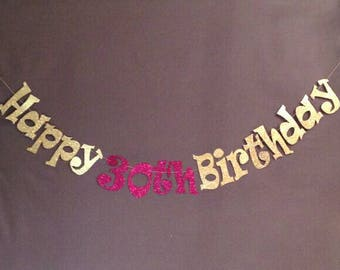 30th Birthday Decorations, Cheers to 30 Years, Thirty 30 Happy Birthday Banner, Dirty 30, Glitter Banner, Birthday Party Decorations
