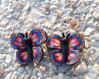 Blue butterfly polymer clay earrings