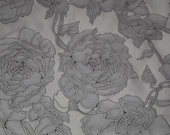 Organza fabric- Rose Burnout Organza Fabric in Black and White