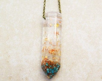 Turquoise Crystal Necklace,Terrarium Necklace,  turquoise pendant, Nature lovers necklace, turquoise and goldstone,