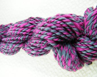 Handspun Yarn - DK Weight - Maroon Red & Pink with Grey - Merino - Handmade - Canadian #803