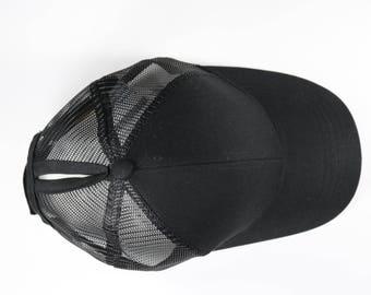 CC Black Ponytail Cap - Pony Tail Hat