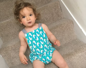 Bubble Romper, Blue or Yellow Seagulls