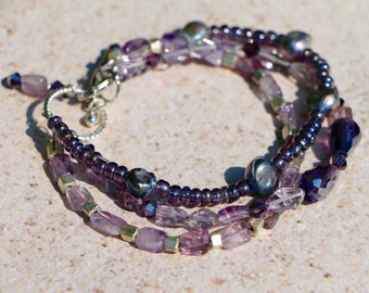 Hand-Crafted Amethyst Three-Strand Beaded Bracelet with Glass, Swarovski Crystals, Silver, and Pearls OOAK