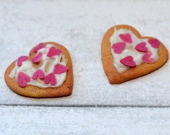 1:12 scale dollhouse miniature heart sugar cookies with sprinkles, (2) polymer clay mini food