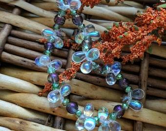 Green Purple Teardrop Bracelet, Green Bead Bracelet, Valentine's Gift For Her, Purple Bead Bracelet, Stretch Bracelet | Jewelry for a Cause