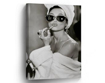 Audrey Hepburn Style Make Up Canvas Print Home Decor Iconic Wall Art Gallery Wrapped