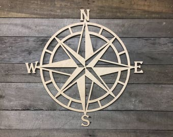 Wooden Nautical Compass Wall Decor / Nautical Wall Art/ Beach Decor/ Compass Decorations/ Custom Wall Art /Lighthouse Decor/ Compass Roase