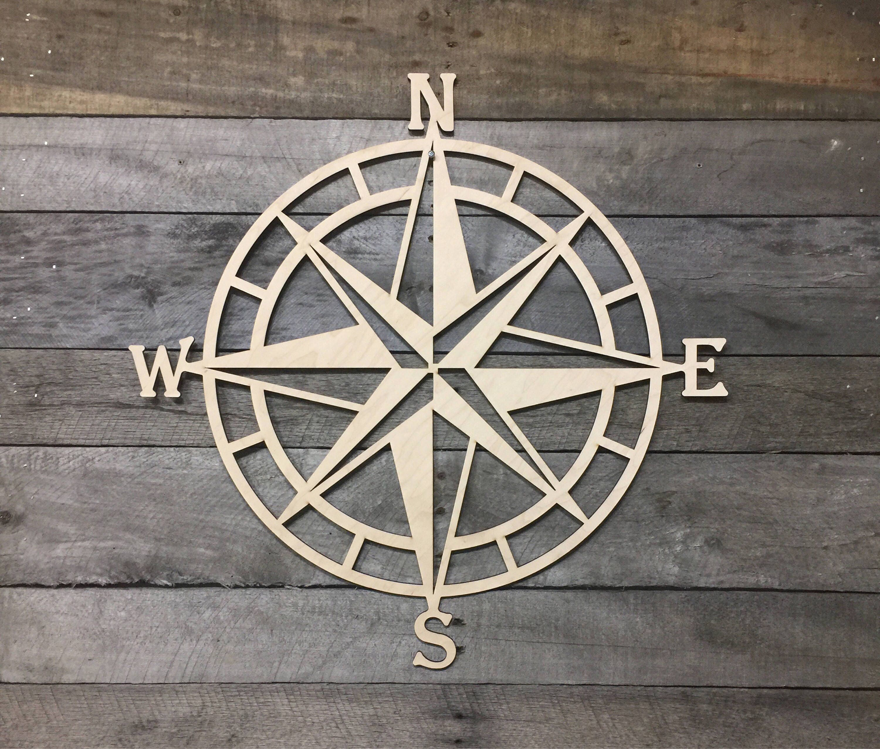 wooden nautical compass wall decor nautical wall art beach