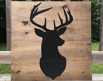 Deer Wood Sign - Rustic Deer - Hunter Sign - Deer Decor - Gift For Him - Cabin Life - Hunting Sign - Deer Antler Sign - Man Cave Sign - Wood