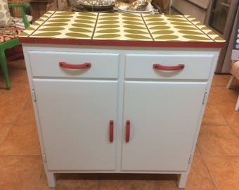 1950 u0027s kitchen cabinet with orla kiely decoupaged top and drawers kitchen cabinets   etsy  rh   etsy com