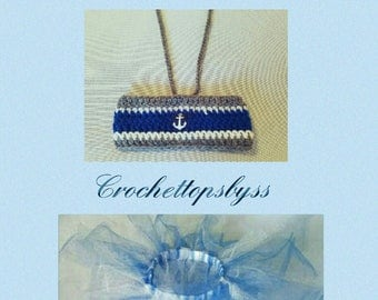 SALE:  Infant Girls' Nautical Crochet Bandeau Top, Headband & Tutu