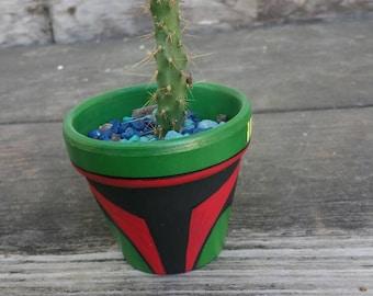 Boba fett Character Handpainted terra cotta Pot Flowerpot