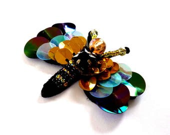 Gold Sequinned Dragonfly Sew on Applique - H492