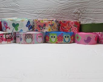 Grosgrain ribbon bundle 12 yards of owls, birds, butterflies, with solid color ribbons, Kit