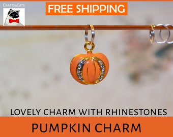 Pumpkin collar charms - Halloween pumpkin with rhinestones - bells & charm for cat collars - pumpkin charm - pet collar pumpkin charms