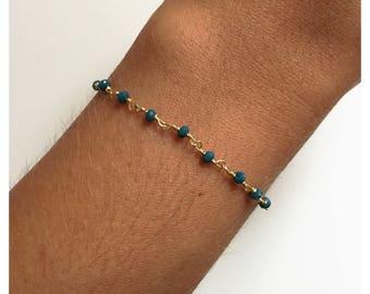 "Fancy ""Philadelphia"" with faceted green Beads Bracelet"