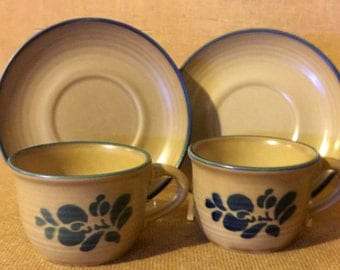 Pfaltzgraff Folk  Art Two Cups & Saucers