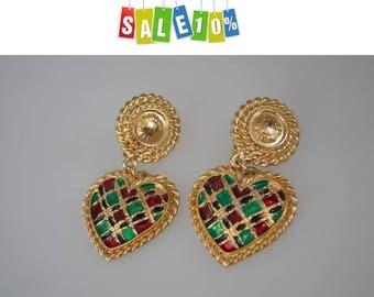 Vintage Butler & Wilson Enamel Heart Clip on Earrings 1970's