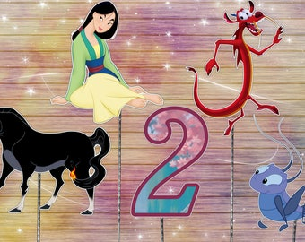 Mulan centerpiece - disney cake topper - birthday decoration - digital download YOU PRINT