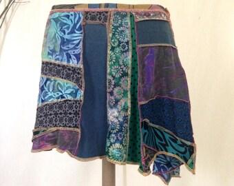 Recycled Fabric Skirt, Asymmetrical, Size Medium Large, Upcycled, Repurposed, Recycled, Gypsy Skirt, Exposed Seam, Geometric, Boho Skirt