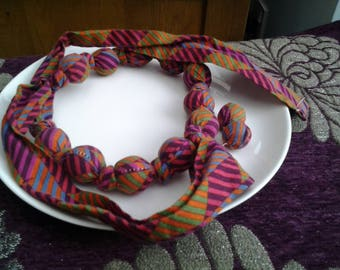 Striped Fabric Necklace