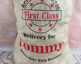 Personalised santa sacks extra large xmas sack present bag hessian sack