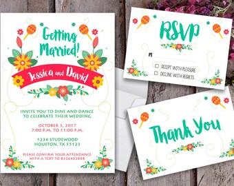 Mexican Wedding Invitation - Mariachi Wedding - Mariachi - Fiesta Wedding - Mexican Wedding - Folklore Wedding - Printable Design - Folklore