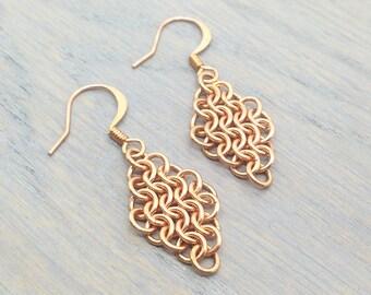 Copper Earrings - Dainty Earrings - Dainty Jewelry - Small Earrings - Tiny Earrings - Drop Earrings - Chainmail Earrings - Euro 4 in 1