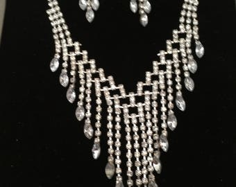 Vintage Beaded Necklace and earring set  Bridal/Prom