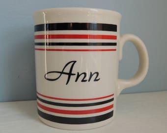 Vintage Ann Coffee Mug, Coffee Mug With The Name Ann on it, Personalized Coffee Cup, Personalized Ann Mug, Classy Black and Red Design Mug
