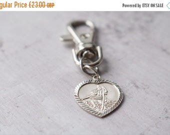 Summer Sale Personalised Saint Christopher Medal - Personalised Heart Silver Saint Christopher Key Chain