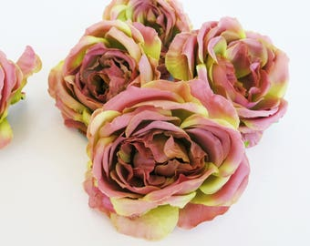 "22 Mini Roses Artificial Silk Flowers Green Soft Purple Rose measuring 3"" Floral Hair Accessories Flower Supplies Faux Fake DIY Wedding"